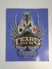"""TEXAS HOLD'EM No Limit Hoyle Metal Wall Sign 15"""" X 12"""" Cards Poker Chips"""