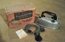VINTAGE AUTOMATIC STEEM ELECTRIC STEAMING IRON - 1939