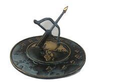 Sundial Globe base, bow and arrow, brass, Heavy, 8� Wide, 5� Tall