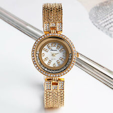 Classic Golden Crystal Bling Rhinestone White Dial Women Wrist Watch Bracelet