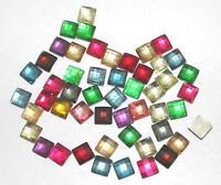 ca.18-20mm Grosse handmade Indonesia-Perlen m.Blüten-Mosaik in Rot//Terra//W//Jet