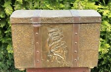 Beautiful Antique Vintage Brass Log Coal Box Trunk *