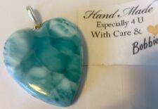 HUGE Amazing   handcrafted AAA Larimar HEART   Pendant 925 silver  ## H10