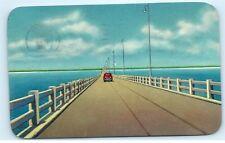 *1952 1950s Car Gandy Bridge Tampa St Petersburg Florida Postcard B43