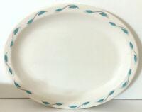 "Homer Laughlin Best China White Oval Platter Aqua Leaf Restaurant Ware 11""L EUC"