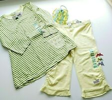 Naartjie Kids NWT Girls 2 pc Yeloow/Green Striped Dress & Capri Size 5/6