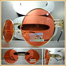 OVERSIZED EXAGGERATED Vintage Retro Style SUN GLASSES Round Gold Frame Red Lens