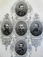 Union Commanders Departments of the East 1866 Virtue Civil War portraits
