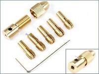 3.175mm 7pcs Small 0.5mm - 3mm Brass Collet Electric Drill Bit Chuck Wrench Tool