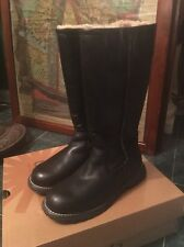 UGG Australia Brooks Tall Black Leather Boots w/ Sheep Lining Women's Size 6