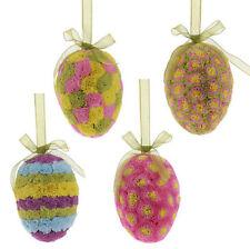 "E3253356 Set/2 RAZ 5"" Pressed Paper Egg Spring Easter Ornament Decoration"