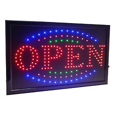 "Large 3 Color High Visible Led Light Business Open Sign Chain Switch 21.5""x13"""