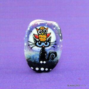 """OWL ALWAYS LOVE YOU""  handmade lampwork glass CAT pendant focal bead byKayo SRA"