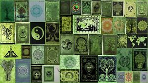 Small Poster Green Color Wall Hanging Tapestry Beautiful Handmade Cotton Indian