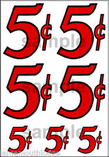 1 INCH 1/2 INCH VINTAGE STYLE 5 C CENT VENDING DECAL 7 DECALS