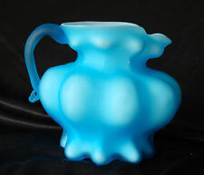 Fenton Cased White With Blue Overlay Pitcher Vase Melon Base Applied Handle