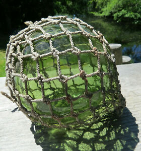 "Japanese Glass Fishing Float 6"" Sea Green RARE SIZE Net Ocean Survivor Antique!"
