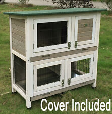 RABBIT HUTCH GUINEA PIG HUTCHES RUN 2 TIER DOUBLE DECKER GREY ROGER INCL COVER