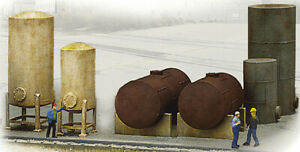 Walthers Cornerstone HO Scale Building/Structure Kit Industrial Tanks Detail Set