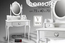 TOD TAVOLO CONSOLLE + SPECCHIO CUORE BIANCO VINCY SHABBY CHIC 662522