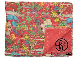 Queen Size Kantha Quilts Cotton Handmade Blanket Bedding Throw & Bedcovers Red