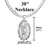 "Men's Women's 925 Sterling Silver 30"" Oval Saint Christopher Chain Link Necklace"