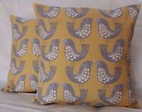"""14"""" 16"""" 18""""Cushion Cover Saffron Yellow Mustard Grey Scandi Bird Print Handmade"""
