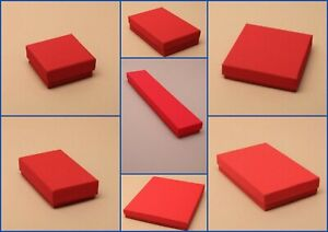 Red Boxes Flocked Pad Jewellery Gift Favour Present Shop Lot Wholesale