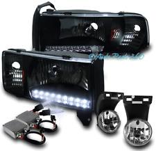 94-01 DODGE RAM DRL LED BLACK CRYSTAL HEAD LIGHTS W/DRIVING FOG LAMP+50W 8K HID