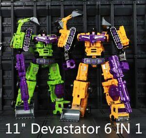 """6 In 1 Devastator Deformable Robot GT Engineering Action Figure  11"""" Truck Toys"""