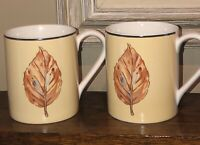 Corelle Coordinates Stoneware Mug/Cup Set 2 Yellow White Rust Brown Fall Leaf