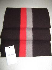 Luxury Designer Gents Paul Smith Red & Beige Striped Brown Wool College Scarf