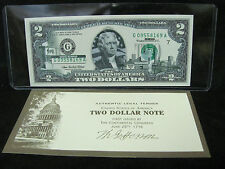 """2003A $2 UNC Fed Reserve Note OVERPRINT """"STATE SERIES-OHIO"""" in hard flip"""