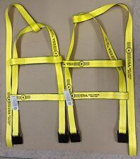 DEMCO Tiedown Straps Adjustable Tow Dolly Wheel Net Set Flat Hook YELLOW USA 2T