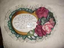 Heart Shaped Wood/Porcelain Plaque wt Burgundy/Green Roses...A Friend (read pic)