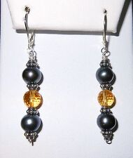 STERLING SILVER GENUINE TAHITIAN PEARL 8MM X2 AND CITRINE LEVER BACK  NEW DESIGN