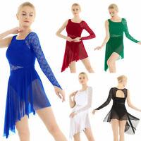 Women Ladies Contemporary Ballet Dance Leotard Dress Lace Asymmetric Skate Skirt