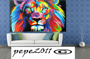 Street Art Print poster RAINBOW LION PAINTING A0 SATIN PAPER