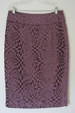 Hazel Purple Check, Back Slit, Lined  Knee Length  Pencil Skirt NWOT  SIZE:L