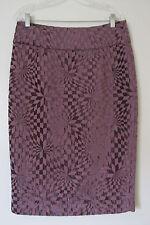 Hazel Purple Check Below Knee Pencil Skirt w/ Back Slit SIZE:L