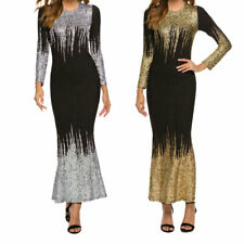 New Women Round Neck Print Long Sleeve Dress Office Mid Calf Elegant Party Dress