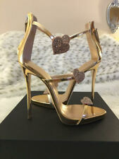 NIB AUTH GIUSEPPE ZANOTTI Harmony Love Gold Metallic Heart Crystal Heels Sandals