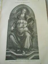 La Fortezza par Sandro Botticelli Gravure Old Print 1892