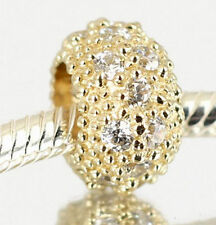 Genuine SOLID 9CT 9K 375 GOLD BEAD w 18 Clear CZ  For Charm Bracelet / Necklace