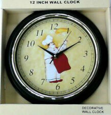 """Fat Chef Bistro Round 12"""" Kitchen Wall Clock 12 Hour Display Battery Operated"""