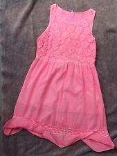 Robe rose fluo avec dentelle - Taille 12/14 ans