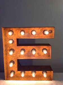 """New Rustic Metal Letter E Light Marquee: Sign Wall Decoration 12"""" (Evelyn)"""