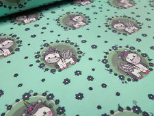 Stoff Baumwolle Jersey Einhorn Blumen Unicorn mint grün bunt Kinderstoff
