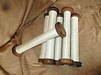 Lot de 6 anciennes grandes bobines de fil en bois-métier à tisser-loisir créatif