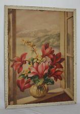 Vintage Print 'Window Florals' by SL Bender 1941 Signed Framed